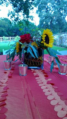 Square vase fall centerpiece