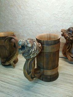Wooden Tankard Beer Stein Mug Carved Souvenir Cedar Gift HandMade Cup Barrel…