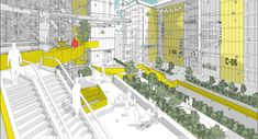 alexander balchin addresses urban density with communities in the sky Urban Landscape, Landscape Design, Drawing Expressions, Walled City, Shopping Malls, Presentation, Community, Thesis, Proposal