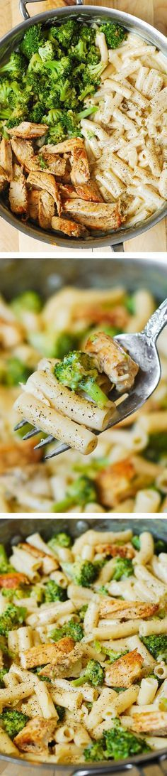 Delicious, creamy chicken breast, broccoli, garlic in a simple, homemade cream sauce. My favorite alfredo pasta!