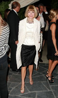 Editor-in-Chief of American Vogue, Anna Wintour...the revered name in fashion... Ever stylish and made the bob her own.... Love her!