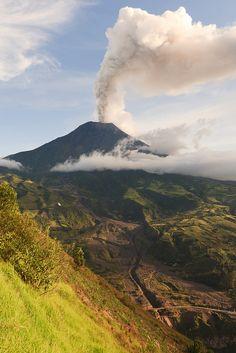Tungurahua volcano smoking, Ecuador, South America