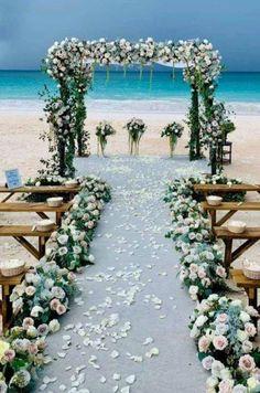 Beach Wedding Aisles, Beach Wedding Flowers, Beach Ceremony, Wedding Ceremony Decorations, Wedding On The Beach, Wedding Ceremonies, Bahamas Wedding Venues, Night Beach Weddings, Beach Wedding Locations