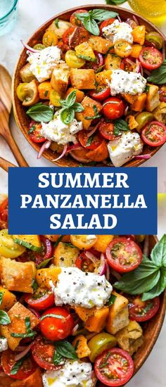 Summer Panzanella Salad with chunks of bread, tomatoes, basil, and a simple vinaigrette. This Tuscan tomato bread salad is perfect for summer dining. #panzanellasalad #tomatobreadsalad #panzanellarecipe #italianbreadsalad #tomatosalad Healthy Salad Recipes, Vegan Recipes, Healthy Dinners, Delicious Recipes, Italian Bread Salad, Tomato Bread, Healthy Side Dishes, My Favorite Food, Vegane Rezepte