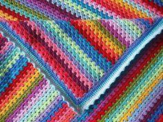 Exquisite Granny Stripe Crochet Blanket