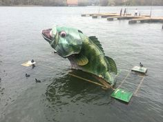 Large bass fish creation in Austin, Texas