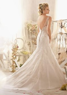 Bridal Gown From Mori Lee By Madeline Gardner Style 2615 Crystal Beaded Embroidery Combined With Delicate Alençon Lace Appliqués On Tulle