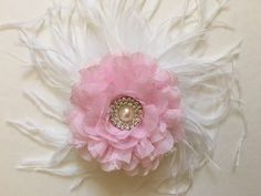 Pink Chiffon Lace Fascinator from my Etsy shop https://www.etsy.com/listing/276820032/pink-chiffon-lace-flower-feather