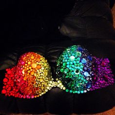Rhinestone bra I made with hot glue and rhinestones for raves