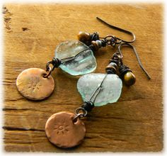 Roman Glass Earrings Copper Patina Aqua Yellow by ChrysalisToo, $45.00
