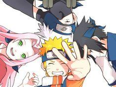 Kakashi, Sasuke, Naruto and Sakura, by Pixiv Id 4120657 Naruto Team 7, Naruto Kakashi, Anime Naruto, Naruto Cute, Gaara, Sakura Haruno, Naruto Sasuke Sakura, Naruto Images, Naruto Pictures