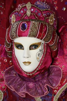 Danielle's Portrait.  Carnivale in Venezia.  Venice, Italy. Color photography by Donna Corless.