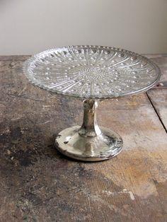 Mercury Glass Pedestal Tray