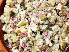 Potato Salad with apple cider vinegar  Ingredients  3 lbs. medium red-skinned potatoes, unpeeled, scrubbed 8 dill pickle spears 3 celery stalks, chopped (about 1 c.) 1/2 medium red onion, chopped about 3/4 cp.  3 hard-boiled eggs, peeled and chopped 2/3 c. mayonnaise 2 tbs. whole-grain mustard 2-1/2 tbs. apple cider vinegar 2 tbs. fresh dill, minced Salt and pepper to taste