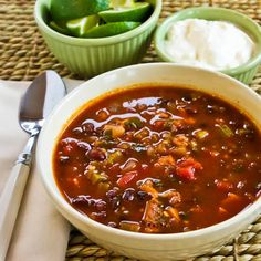 Recipe for Chicken, Black Bean, and Cilantro Soup from Kalyn's Kitchen  #LowGlycemicRecipe