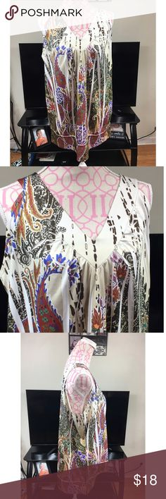 LANE BRYANT PRINTED TUNIC SIZE 18/20 Lane Bryant printed tunic. Sleeveless. V neck front and back. Excellent condition. Size 18/20. Bust approximately 40 inches. Length approximately 30 inches. 92% polyester 8% spandex Lane Bryant Tops Blouses