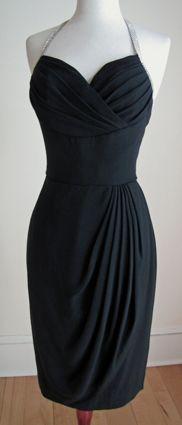 Lilli Diamond RHINESTONE HALTER Shelf Bust Wiggle Vintage Cocktail Dress