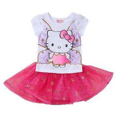 Toddler Girls' Hello Kitty 2-Piece Tunic and Skirt Set White/Pink