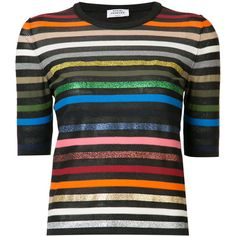 Sonia Rykiel Short-Sleeve Striped Rainbow Sweater found on Polyvore featuring tops, sweaters, multicolor, short sleeve cotton sweaters, multicolor striped sweater, short sleeve sweater, multi colored striped sweater and crewneck sweater