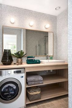 7 Powerful Simple Ideas: Half Bathroom Remodel Paper Holders very tiny bathroom remodel.Bathroom Remodel On A Budget Spa bathroom remodel beadboard small spaces.Bathroom Remodel Green Home. Tiny Laundry Rooms, Laundry Room Design, Laundry In Bathroom, Small Bathroom, Bathroom Ideas, Master Bathroom, Master Baths, Small Laundry, Basement Bathroom