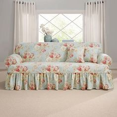 Sure Fit white Matelasse Damask One Piece Slipcovers tCushion