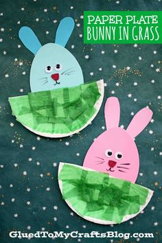 Paper Plate Easter Bunny Hiding In The Grass Craft - Kid Art.- Paper Plate Easter Bunny Hiding In The Grass Craft – Kid Art Project For Spring - Spring Crafts For Kids, Art For Kids, Kid Art, Spring Crafts For Preschoolers, Summer Crafts, Daycare Crafts, Toddler Crafts, Easter Art, Easter Bunny