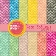 Scallop digital paper 'Deco scallops' art deco by GemmedSnail, $4.80