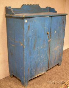 Blue-painted Poplar Cupboard, possibly Pennsylvan