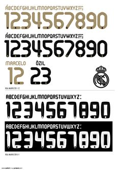 Real Mardid kit font Real Mardid, Football Fonts, Jersey Font, Madrid, Nose Drawing, Typography Design, Police, Number, Sports