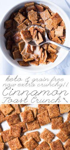 Gluten Free, Paleo & Keto Cinnamon Toast Crunch 🥛 Extra crunchy & just 2g net carbs! #keto #ketobreakfast #lowcarb #paleo #glutenfree