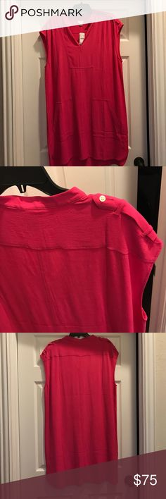 NWT J. Crew Dress J. Crew New with tags hot pink dress with chic button details on shoulders and pockets in the front to add flair. Perfect dress for almost any spring occasion. J. Crew Dresses Midi