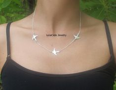 Sterling Silver Three Birds Necklace on Etsy, $39.00