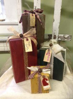 Painted blocks, christmas present blocks, primitive present