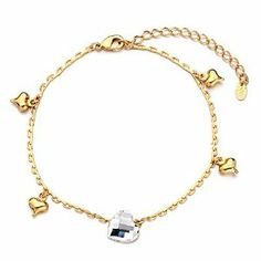 Pugster Golden Chain Hearts Bell April Birthstone Clear Swarovski Crystal Ankle Bracelet Anklet Lobster Clasp Pugster. $13.59. Made with Swarovski Elements. The perfect accessory for evening or day wear. 9 Inch to 10 inch Length Adjustable Anklet. Free Gift Box. Money-back Satisfaction Guarantee. Save 15%!