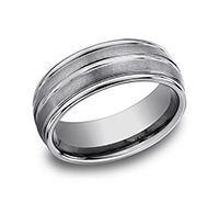 Stall and Kessler |This incredible satin-finished 8mm comfort-fit Tungsten band features a high polished round edge and center trim that gives subtle consistency of style and form.