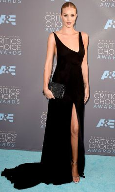 Rosie Huntington-Whiteley in a Saint Laurent dress at the 21st Annual Critics' Choice Awards (Photo: Mark Ralston/Agence France-Presse — Getty Images)