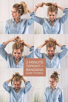 2 Minute Topknot + Bandana Scarf Tutorial (Photo + Video) / 2 minute topknot and. Hair & Make Up 2 Minute Topknot + Bandana Scarf Tutorial (Photo + Video) / 2 minute topknot and. Messy Bun Hairstyles, Bandana Hairstyles, Hairstyle Ideas, Heat Free Hairstyles, Wedding Hairstyles, Nurse Hairstyles, Fine Hairstyles, 5 Minute Hairstyles, Easy Summer Hairstyles