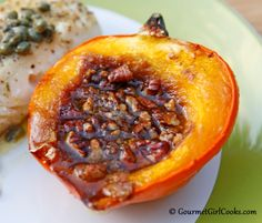 """Gourmet Girl Cooks: Baked Acorn Squash w/ Butter, """"Brown Sugar"""" & Pecans Served w/ Pan Seared Wild Halibut"""