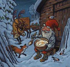 Nissen spiser julegrøten sin