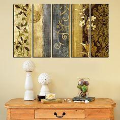 Stretched Canvas Print Art Botanical Pattern of Flower Set of 5 – USD $ 73.99