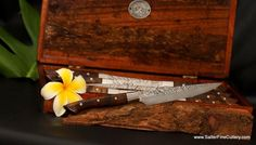 -Steak Knives: Blade Options | Salter Fine Cutlery Japanese Blades, Collectible Knives, Steak Knife Set, Steak Knives, Custom Knives, Cutlery Set, Knife Sets, Luxury Home Decor, Keepsake Boxes