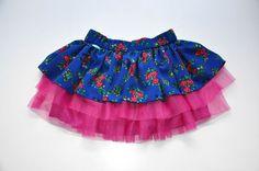 Folk tutu skirt by NinuMilu  Twirl girls skirt NOVELTY folk design sapphire by NinuMiluBagDolls