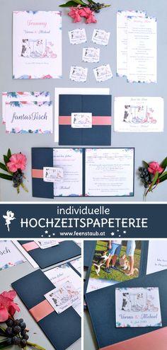 Wir entwerfen ausgefallene Hochzeitseinladungen nach euren  Vorgaben. Ihr heiratet und seid auf der Suche nach kreativen, einzigartigen und individuellen Einladungskarten für eure Hochzeit? Dann seid ihr bei uns richtig.  So wie hier in blau und rosa mit den Hunden des Brautpaares im Mittelpunkt. Die Hunde wurden von einem Foto abgezeichnet, die Einladung als  Pocketeinladung umgesetzt.   #feenstaub #hochzeit #hochzeitseinladung #einladungskarten #hund Save The Date Karten, Pink, Fancy Wedding Invitations, Map Invitation, Thanks Card, Newlyweds, Invitation Cards, Getting Married, Card Crafts
