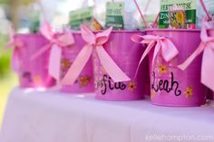 party pail, potting soil and seed packets for favors