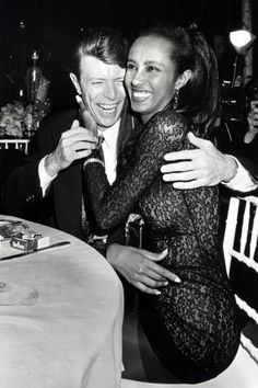 Fashion power couple: Bowie with supermodel wife, Iman, at an AIDS benefit in 1990.
