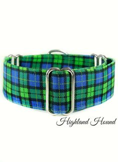 Plaid Martingale Collar Boy Dog collar Green by CollarTown on Etsy