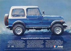 """An original 1981 advertisement for the Jeep CJ Renegade, in blue. Art print of this Jeep covered in frost. Rough enough for snow for families to skiers. """"A legend must weather many storms"""" -An 1981 Je Cj Jeep, Jeep Cj7, Jeep Rubicon, Jeep Wranglers, Jeep Wagoneer, Vintage Jeep, Vintage Ads, Station Wagon, Carros Suv"""
