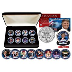 TRUMP Official Half Dollars ULTIMATE 8-Coin Set with Premium BOX & BON – Patriot Products | Selling The Best American Products