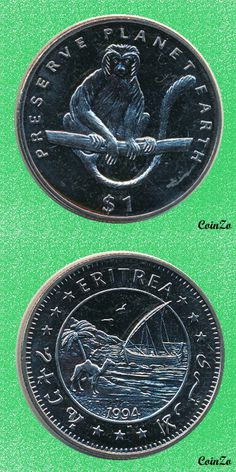 Calobus Monkey, Eritrea 1 Dollar 1994 Copper-Nikel 28.7 g 38.7 mm KM-17