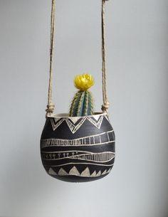 T R I B A L : ceramic hanging planter by mbundy on Etsy https://www.etsy.com/listing/187443163/t-r-i-b-a-l-ceramic-hanging-planter